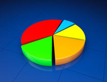 Business Statistic concept. 3d pie chart. On a blue background Royalty Free Stock Photo