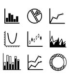 Business statistical charts. And graphs with a pie graph, bar graphs, arrow graphs and flow chart showing various performance trends Stock Photography