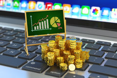 Business statistics accounting, profit and banking concept. Financial report with bar chart and pie diagram on chalkboard and stack of golden coins on laptop Stock Images