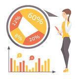 Business statistics and business woman. Eps10 Royalty Free Stock Photography