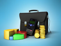 Business statistics calculator briefcase money diagram 3d render. On blue background Stock Image