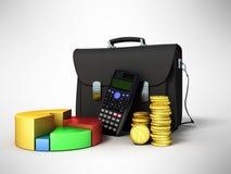 Business statistics calculator briefcase money diagram 3d render. On gray background Stock Image