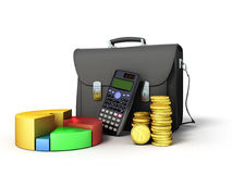 Business statistics calculator briefcase money diagram 3d render. On white Royalty Free Stock Photo