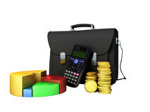 Business statistics calculator briefcase money diagram 3d render. On white background no shadow Stock Image
