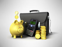 Business statistics calculator briefcase money piggy bank 3d ren. Dering on gray background Royalty Free Stock Photography
