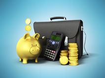 Business statistics calculator briefcase money piggy bank 3d ren. Dering on blue background Stock Image