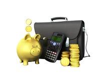 Business statistics calculator briefcase money piggy bank 3d ren. Dering on white background no shadow Stock Image