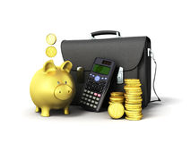 Business statistics calculator briefcase money piggy bank 3d ren. Dering on white background Royalty Free Stock Photos