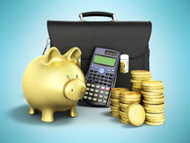 Business statistics calculator money piggy bank 3d rendering on. Blue background Stock Photo