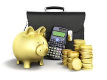Business statistics calculator money piggy bank 3d rendering on. White background Stock Images