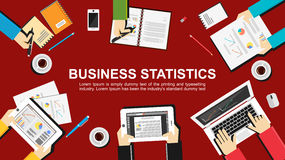 Business statistics concept illustration. Teamwork concept. Royalty Free Stock Photography