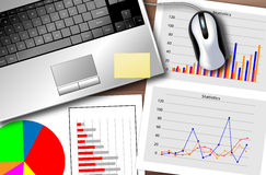 Business statistics. Desk with a laptop and a set of statistics to monitor the progress of the business Royalty Free Stock Images