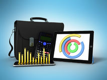 Business statistics diagram tablet briefcase 3d rendering on blu Royalty Free Stock Images