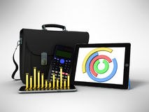 Business statistics diagram tablet briefcase 3d rendering on gra Royalty Free Stock Photos