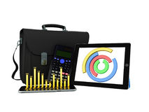 Business statistics diagram tablet briefcase 3d rendering on whi Royalty Free Stock Images