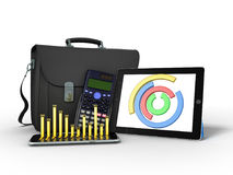 Business statistics diagram tablet briefcase 3d rendering on whi Royalty Free Stock Photo