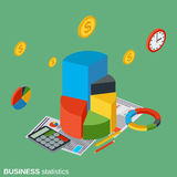 Business statistics, financial analytics vector concept. Business statistics, financial analytics flat isometric vector concept illustration Stock Images