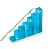 Business statistics graph diagram with bars. And arrow Stock Images