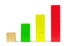 Business statistics graph diagram. Wooden building blocks Royalty Free Stock Photo