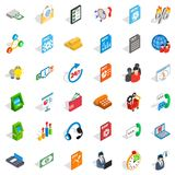 Business statistics icons set, isometric style. Business statistics icons set. Isometric style of 36 business statistics vector icons for web isolated on white Royalty Free Stock Photos