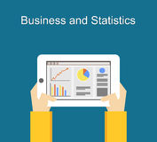 Business and statistics illustration flat designs. Monitoring business and statistics concept illustration on gadget screen. Stock Photography
