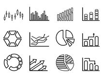 Business statistics outline icon set Royalty Free Stock Photos