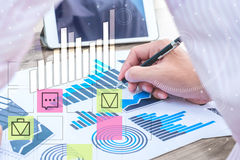Business statistics success concept : businessman analytics char. Business statistics success concept : businessman analytics financial accounting market chart Royalty Free Stock Image