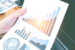 Business statistics success concept : businessman analytics char Royalty Free Stock Photography