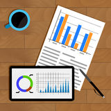 Business statistics on table. Profit marketing view, diagram and chart on tablet. Vector illustration Royalty Free Stock Photography