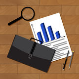 Business statistics top view. Statistics business concept, business presentation chart, vector illustration Stock Image
