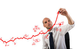 Business statistics uphill Royalty Free Stock Images