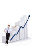 Business statistics in white - businessman Stock Images
