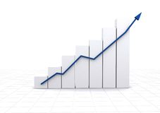 Business statistics - white graph Royalty Free Stock Image