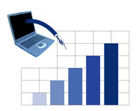 Business stats. A notebook is giving the information for the stats vector illustration
