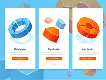 Business stats, banner with circle diagram, analytics and information statistic isometric vector stock illustration