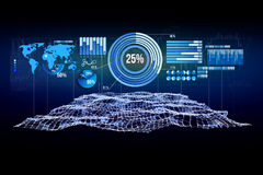 Business stats displayed as graph and chart on a futuristic inte. View of a Business stats displayed as graph and chart on a futuristic interface - Business Royalty Free Stock Photo
