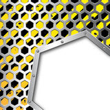 Business steel plate background. Honeycomb lattice above business steel plate background Stock Photos