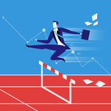 Business steeplechase concept vector illustration in flat style. Vector illustration of businessman overcoming challenges like steeplechaser. Graph presenting Stock Photo