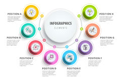 Business 8 step process chart infographics with step circles. Ci. Rcular corporate graphic elements. Company presentation slide template. Modern vector info Stock Images