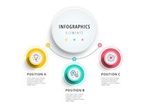 Business 3 step process chart infographics with step circles. Ci. Rcular corporate graphic elements. Company presentation slide template. Modern vector info Royalty Free Stock Photo