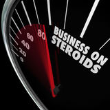 Business on Steroids Increase Growth Improved Results Speedomete. Business on Steroids word on a speedometer to illustrate a company that is stronger and more Royalty Free Stock Photos