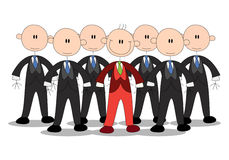 Business stick-man wear different uniform Stock Photography