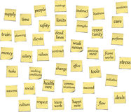 Business sticky notes. Collection of business sticky notes (post-its )as reminders for managers royalty free illustration
