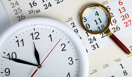 Business stil life with clockface Royalty Free Stock Photos