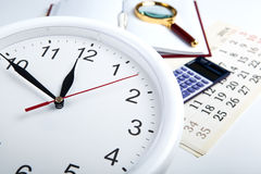 Business stil life with clockface Royalty Free Stock Images