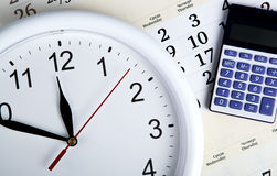 Business stil life with clockface Royalty Free Stock Photo