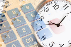 Business stil life with clockface close up Royalty Free Stock Photos