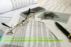 Business still-life. Business background. Paper document, pen, phone and clips Stock Photo
