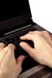 Business still-life 3. Hands typing on a laptop computer keyboard stock photos
