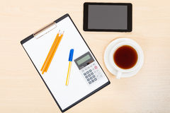 Business still life - above view of office tools Royalty Free Stock Images